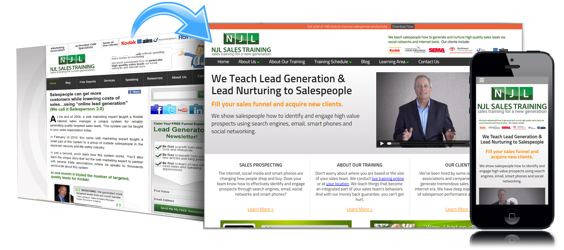 Before and After Website for NJL Sales Training