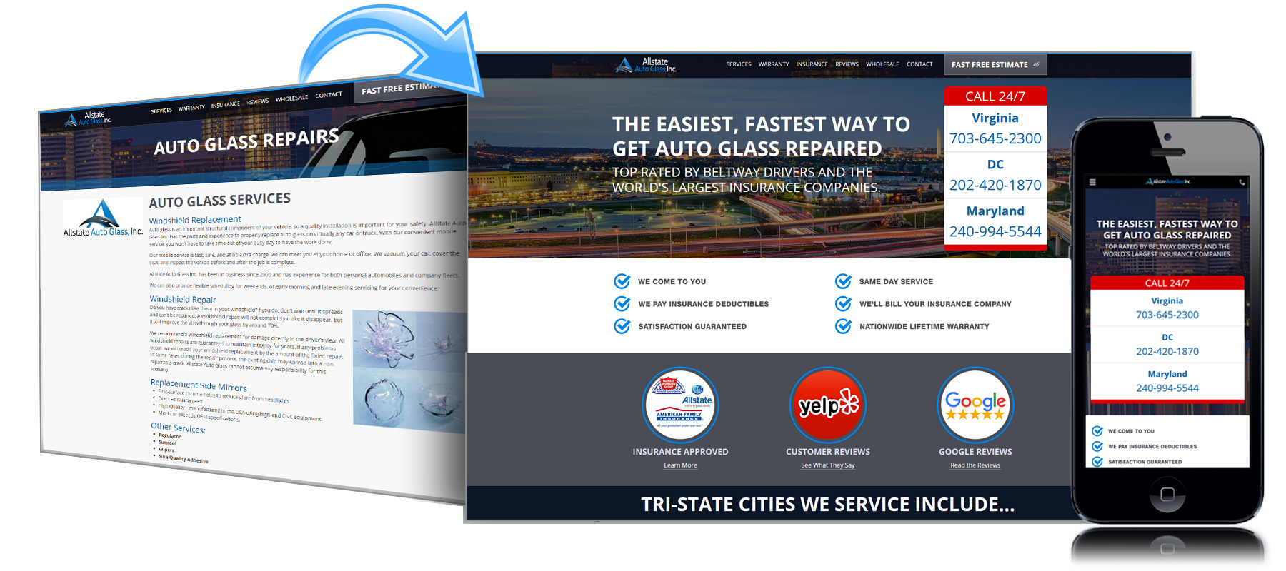 Before and After Website for Allstate Auto Glass of Fairfax Virginia