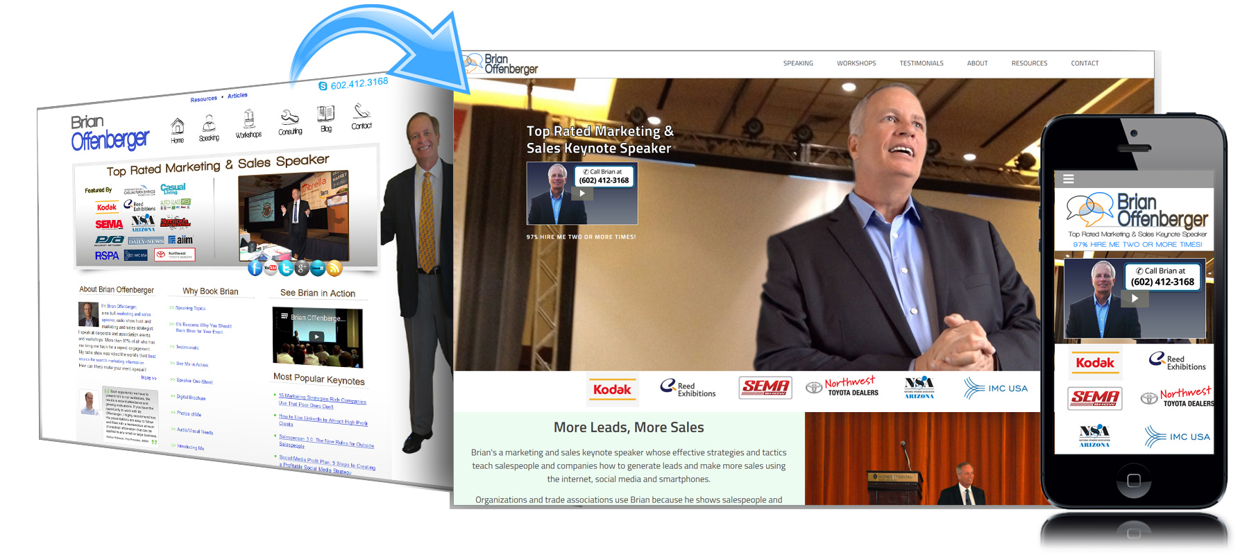 Before and After Website for Brian Offenberger Keynote Speaker