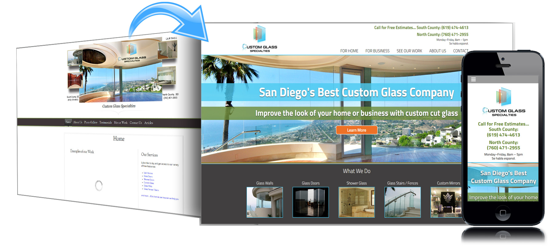 Before and After Website for Custom Glass Specialties of San Diego