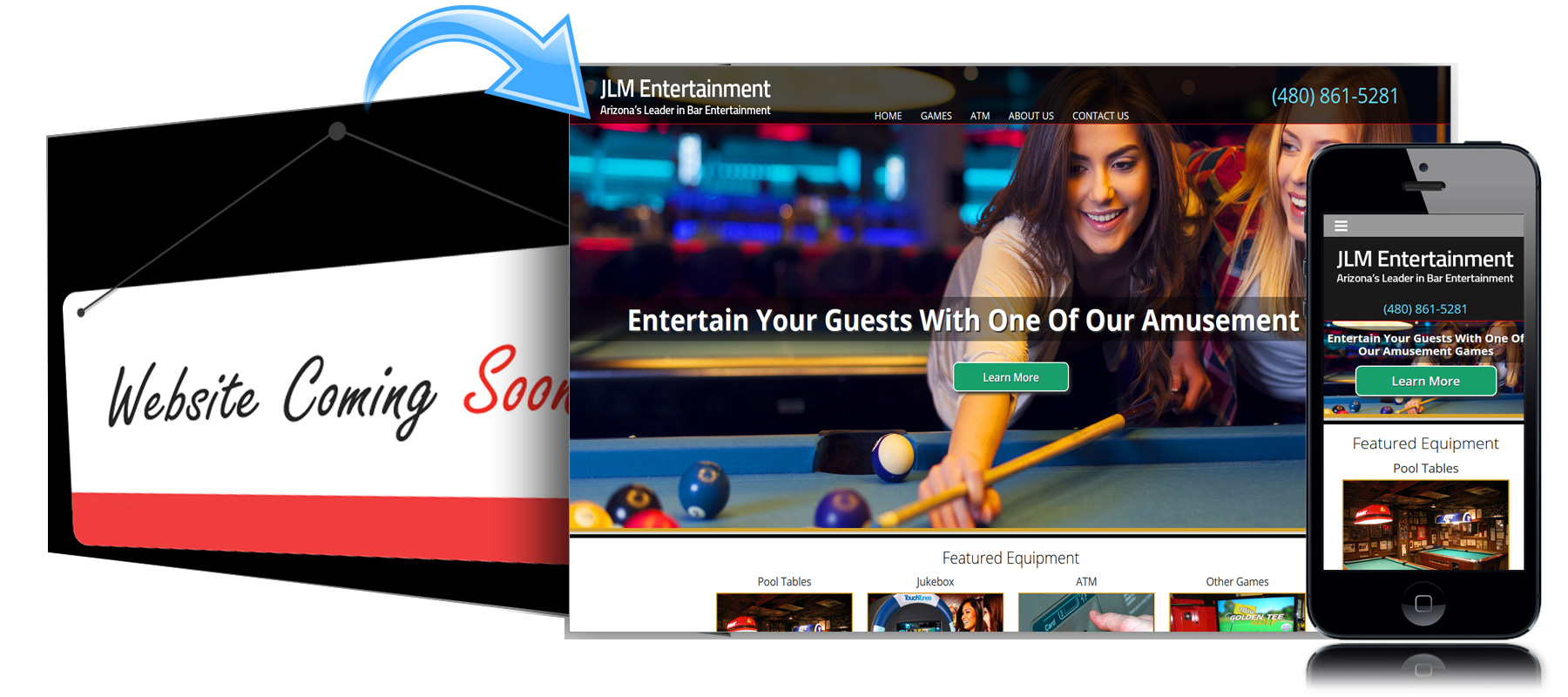 Before and After Website for JLM Entertainment of San Diego