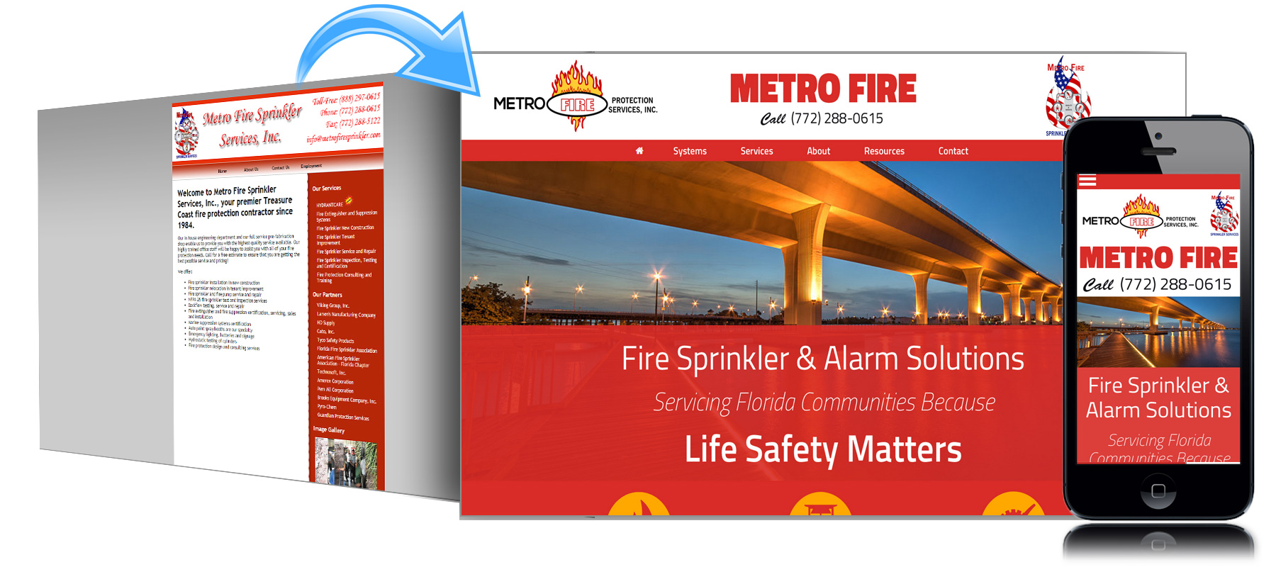 Before and After Website for Metro Fire of Stuart Florida