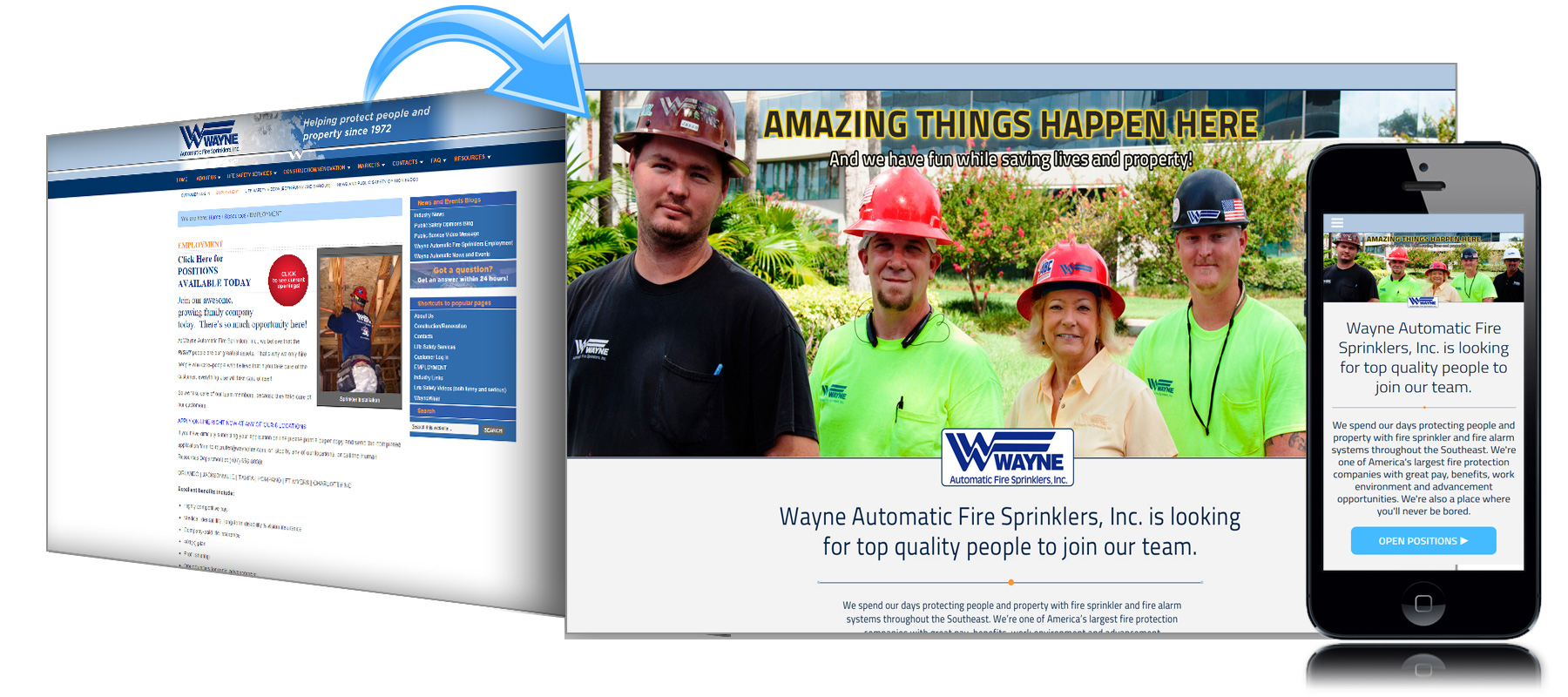 Before and After Website for Wayne Fire Sprinklers of Florida