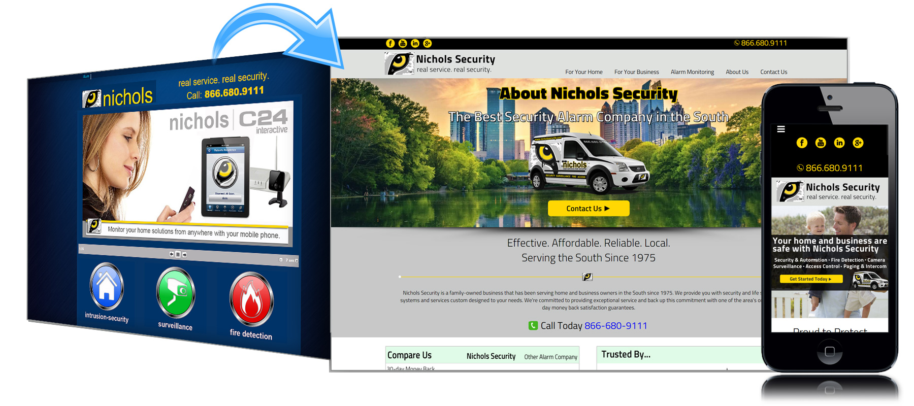 Before and After Website for Nichols Security in Georgia