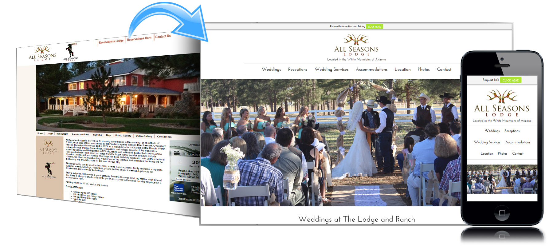 Before and After Website for All Seasons Lodge and Ranch in Heber Arizona